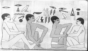 egytian wall paintings of people giving reflexology treatments